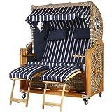 Teca playa cesta 2,5plazas Azul Rayas con 2Bull Ojos 140cm ancho ratán White Oak Incluye equipo completo