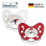 Dentistar® Winter Kollektion Schnuller 2er Set inkl. 2 Schutzkappen - Nuckel Silikon Größe 3 ab 14 Monate, zahnfreundlich & kiefergerecht - Nuggi für Babys - Hase & Schneemann