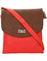 K London Medium Sized Casual Artificial Leather Handbag/Sling Bag For Women & Girls (Red,Brown) (1305_Red)