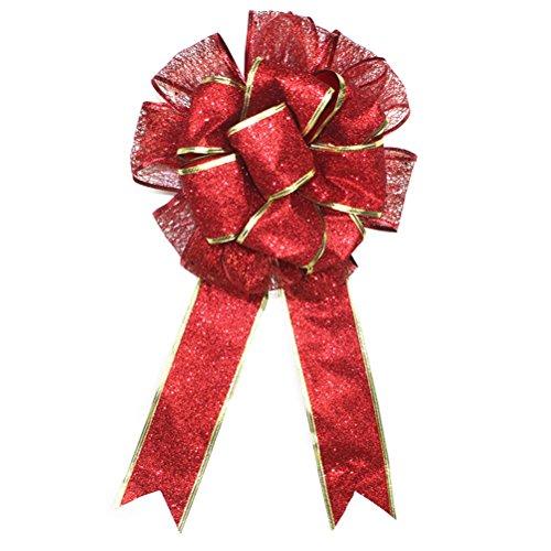 LUOEM Bowknot Glitter Archi Regalo Natale Puntale Albero di Natale Artigianato Doppio Strato di Bowknot