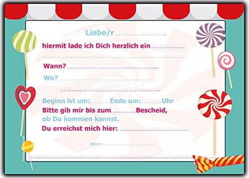 Set 12 Einladungskarten Zum Kindergeburtstag Geburtstag Einladung Karten  Lollies Lutscher Geburtstagseinladung Geburtstagskarte Mit Text Neutral  Sommerfest