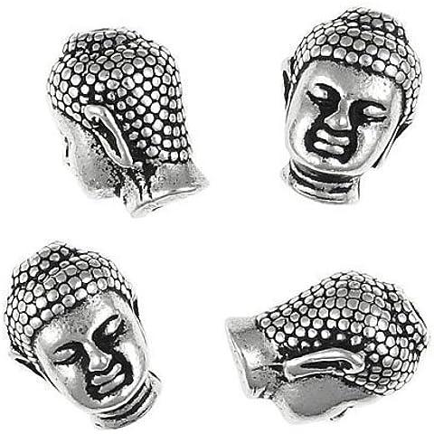 Pacco 5 x Argento Antico Lega Placcato 10 x 13mm Buddha Mala Perline - (HA02490) - Charming Beads - Buddha Bead