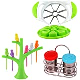 Combo Of Apple Cutter With Baby Bird Fruit Fork Set And Salt & Pepper Dispenser