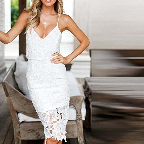 Manadlian-Robes Longue,Femmes Dentelle Robe Sexy Deep V Neck Robe de Soirée Moulante Blanc