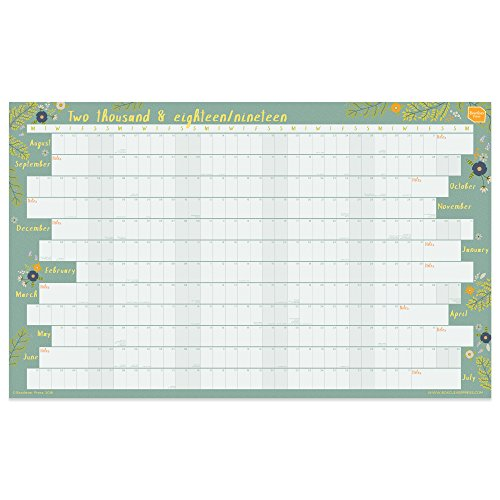 Boxclever Press 2018-2019 Academic Wall Planner Calendar . Linear format. Home or Office Wall Chart. Runs August 2018 to July 2019. Available laminated or unlaminated. (Non-laminate)