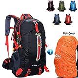 40L Wanderrucksack Trekkingrucksack, Wasserdichter Rucksack Reiserucksack für Outdoor Camping mit Regenabdeckung von BLF (Schwarz)