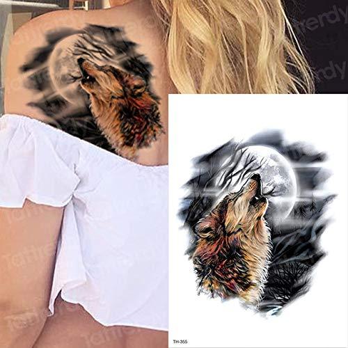 adgkitb 3pcs wasserdicht temporäre Tätowierungen Männer Tattoo Wald Wolf Tattoo TH355 21cmx15cm -