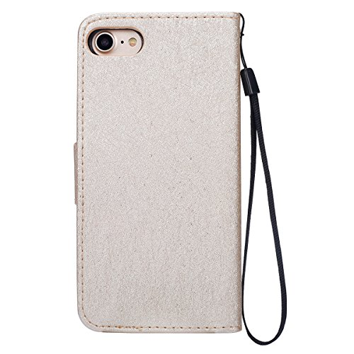 iPhone 7 Hülle,iPhone 7 2016 Schutzhülle,JAWSEU Retro Cool Lanyard/Strap Bookstyle Prägung Tribal Elefant Muster Pu Ledertasche Magnetverschluss Handyhülle Wallet Brieftasche Etui Case Cover mit[Ständ Gold