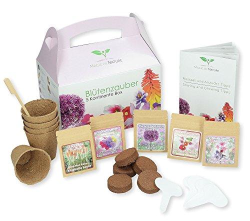 Geschenk Anzuchtset: Blütenzauber 5 Kontinente Box – zum Selberzüchten oder zum Verschenken – eine originelle Geschenkidee für praktisch jeden Anlass