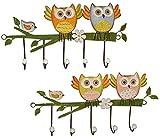 2 Stück Garderobenhaken Eulen aus Metall - Wandhaken Kindergarderobe mit 5 Kleiderhaken Kind Wandgarderobe - für Innen und Außen - bunte Eule Vögel