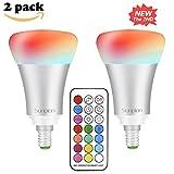 LED RGBW Lampen, Sunpion® E14 10W Dimmbar Glühbirne 12 Farben zur Wahl, inklusive Fernbedienung, Farbwechsel Lampen, LED Birnen, LED Leuchtmittel (2 Pcs)