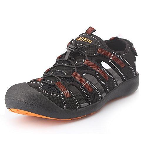GRITION männer outdoor - sandalen größe sport wandern sandalen schnell trocken. toecap sommer schuhe orange / schwarz. (46 EU, Orange) (Sportliche Wander-sandalen)