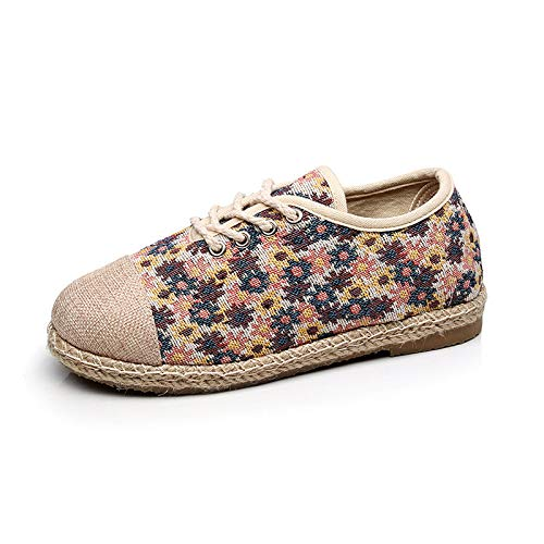 JMMLX Muller Schuhe,Fashion College Style Schuhe, Schuhe, Baitie College Style Schuhe, Flachbild-Soled Gebrochene Blume Weben Schuhe, Blau, 35 - Top Flachbild