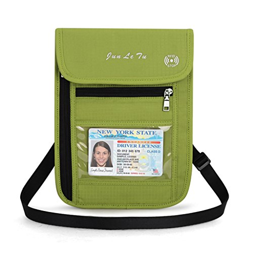 LDA GET Fresh Reise-Beutel, RFID, die Geldbeutel-Hals-Geldbörsen-Karten Geld-Pass-Halter-Grün blockiert - Rfid-reise-geldbörse Hals