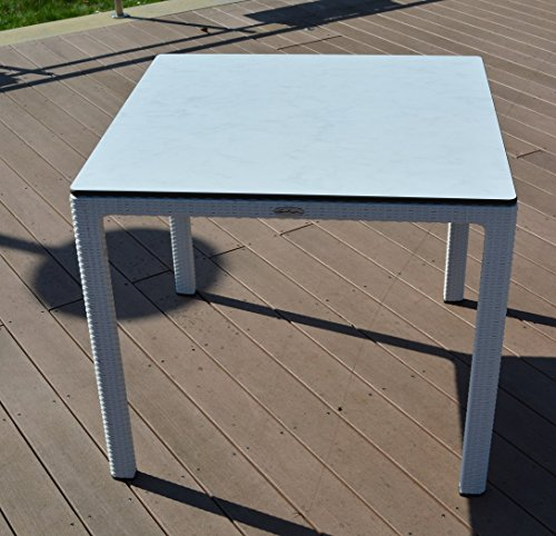 Esstisch 90x90cm Weiß von Lechuza HPL-Tischplatte Gartentisch UV-beständig NEU
