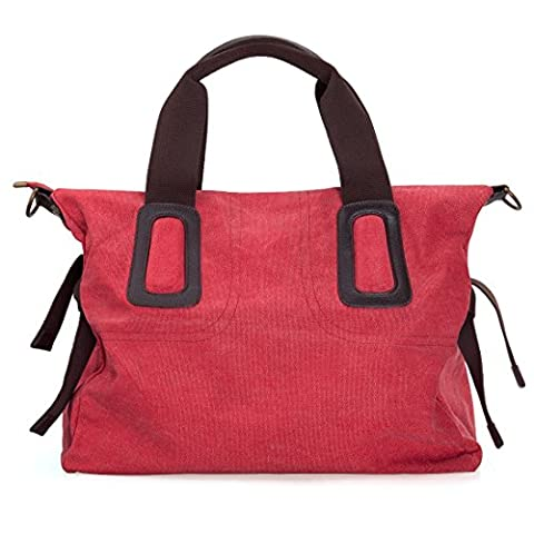 BMC Womens Strawberry Red Canvas Material Double Top Handle Large Shopper Tote Handbag