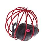 Generic Pet Cat Kitten Funny Playing Toy Teal Fake Mouse in Cage Ball-14006231MG