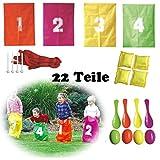 Solex Kinder-Partyset 22-teilig Spieleset Sackhüpfen Eierlauf Wurfkissen Kindergeburtstag Spiele