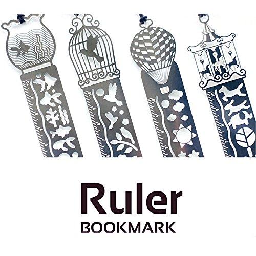 4pezzi di metallo segnalibro template righello-Amupper Book