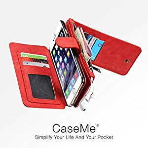 iPhone 6 / 6S Case, Luxury Premium Genuine Real Leather Case with Back Cover, Card and money Slots (Red)