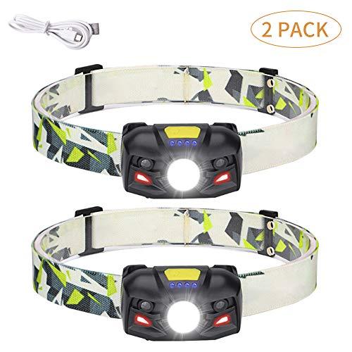 Lampada Frontale LED USB Ricaricabile con display livello batteria, 6 modalità di illuminazione, IPX4 impermeabile, rilevatore di movimento per pesca, campeggio, escursionismo, ciclismo (2 PCS)