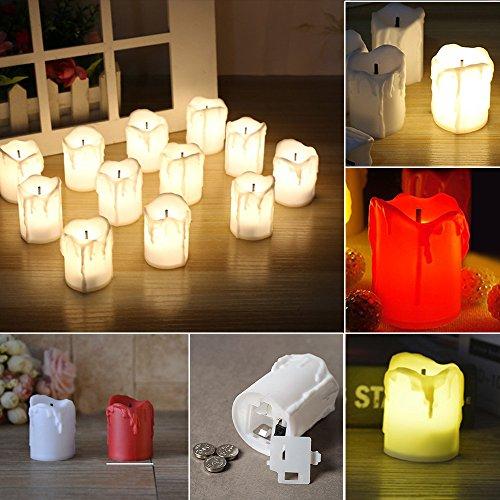 Merssavo Amarillo Lámpara de Vela Electrónica Velas de Luz de Té LED Velas Sin Llama Realistic Party Decoration