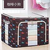 T-CFZH Falten extra große Aufbewahrungsbox Baumwolle 150 Liter Oxford Quilt Aufbewahrungsbox Stoff Stahlrahmen Kleidung Aufbewahrungsbox, 130L (verstärkte Vier Stahlrahmen), Kaffee Hund