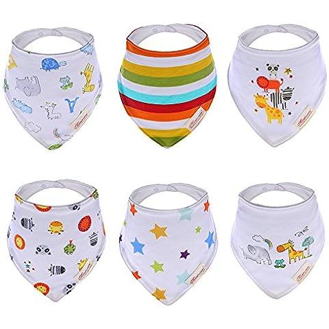 hxhome bebé y Bandana babero–absorbentes 100% algodón frontal Dribble babero con correas ajustables (6unidades)