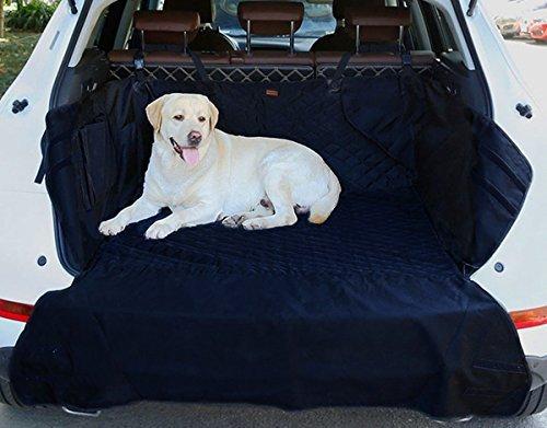 SUV Kofferraumschutz Decke für Hunde, AYADA Autoschondecke Kofferraumdecke Haustier Auto Sitzbezug Matte Gesteppte Wasserdicht Rutschfest mit Klettverschluss Ladekantenschutz Seitenschutz - Schwarz
