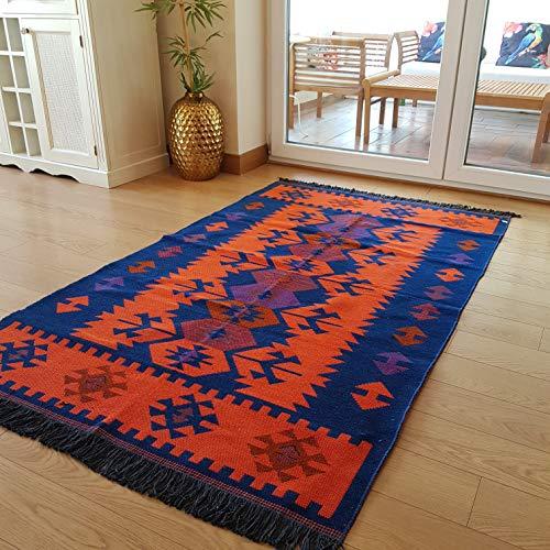 Secret Sea Collection Moderner Teppich im Bohemian-Stil 5x8 feet Navy Blue-orange - 5 X 8 Teppich