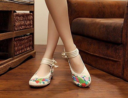Y&M Gestickte Schuhe, Sehnensohle, ethnischer Stil, Femaleshoes, Mode, bequem, Tanzschuhe White