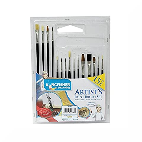Kingfisher 15 Pack Artists Paint Brushes Set & Free Gift