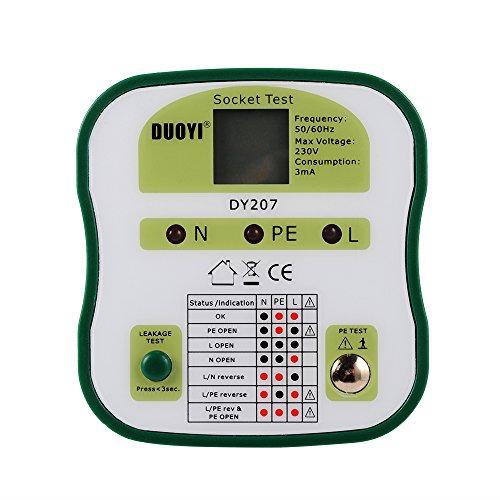 XCSOURCE DUOYI DY 207 220-230V Erkennung Testen Leckageschutz Prüfung Sicherheit Elektrischer Steckdose Prüfer RCD Stecker (EU) Europa Version BI458