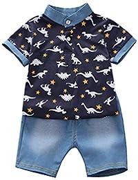 d232a00cba82d Qlans Boys Summer Voulait Ensembles Short Sleeve imprimé t-Shirt Polos avec  élastique Pantalons Shorts…