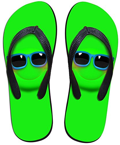 Fashion DESIGNS U per Emoji da uomo e da donna, V Pantofole Sandali infradito, per interni ed esterni, bagno, piscina, in spiaggia, antiscivolo, Wear nero - Emoji Green