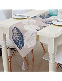Table Runner Linen Leaf Nordic Style Table Runner Table Runner Blue with Tassel For Home Party