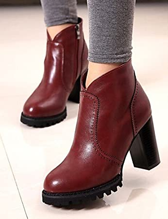 Shoes For Women All Match Chunky Heel Fashion Boots Round Toe Boots Casual Black Red