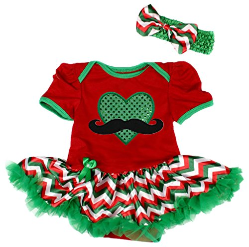 St Patrick Day Baby Dress Beard Heart Red Bodysuit Chevron Tutu Romper Nb-18m (6-12 Monat) (Red Beard Kostüme)