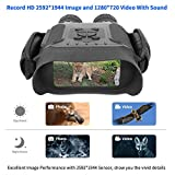 """Night Vision Binoculars, 720P HD Digital Infrared Hunting Binocular Scope with 2"""" TFT LCD and 7X Magnification IR Camera with Video Recorder Function Day and Night in 400m/1300ft for Wildlife Military"""
