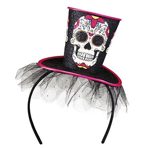 erdbeerclown- Halloween Kostüm Haarreif mini Zylinder Hut Skelett Schädel Day of Dead, (Kostüm Dead Devil)