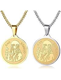 Vnox Medalla de San Benito de Acero Inoxidable Medallón de Benedicto Cruz Celta Cruz Católica Collar de Cadena con Colgante para Hombres Mujeres