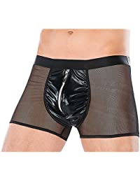 b722f79437 IWEMEK Sexy Mens Wet Look Erotic Lingerie Mesh See Through Transparent  Boxers Faux Leather Zipper Jockstraps