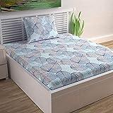 Divine Casa 100% Cotton 144 TC Floral Single Bedsheet Cotton with 1 Pillow Cover - Light Blue