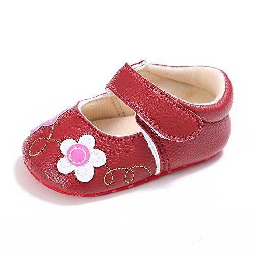 en Weiche Sohle Blumen Lauflernschuhe Rot 12-8 Monate (Rote Blumen-mädchen-schuhe)