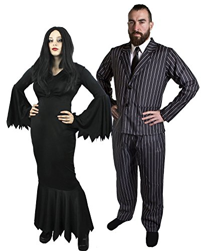 ILOVEFANCYDRESS Halloween Gothic Paar KOSTÜM MR&MRS Horror Familie=Fasching Karneval MIT Plastik ZIGARRE +SCHNÄUTZER = Frauen-MEDIUM+MÄNNER-XXLarge (Morticia Und Gomez Addams Paare Kostüm)