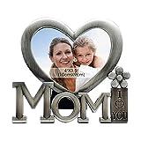 Gosear Mom I Love You Metall Bild Fotorahmen Herz geformt Fotorahmen für Mütter Tag Geburtstag Geschenke Silber