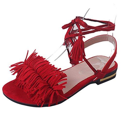 Sandali Koly Sandali da donna Scarpe casuali Lace-Up casuali del nuovo tallone caldo dell'ufficio di estate di modo Red