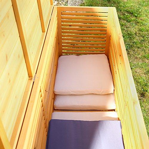 2in1 Holz Bank Auflagenbox Kissenbox Gartenbank Gartenmöbel Truhe Holztruhe - 5