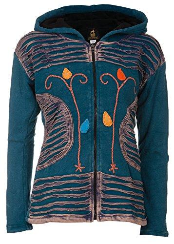 Michael Heinen Patchwork-Strickjacke   Hippie-Jacke   Modell Flower Power   Innenfutter aus Fleece   Damen   Goa-Jacket   Cutwork   Kapuzen-Sweatjacke   Individuell   Handarbeit aus Nepal Flower-power-jacke