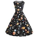 SEWORLD 2018 Damenmode Sommer Frauen Vintage Drucken Sternenhimmel Planeten Space Kleid(A-a-Schwarz,EU-42/CN-XL)